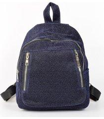 mochila tela brillo azul mailea