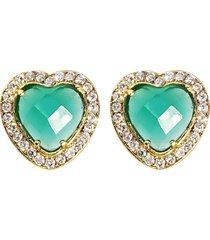 brinco coraã§ã£o banho de ouro 18k cristal verde facetado e zircã´nias - verde - feminino - dafiti