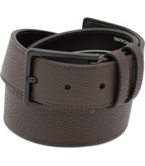 calvin klein men's flat-strap stitched leather belt