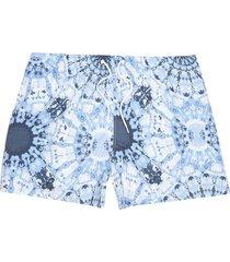 river island mens big and tall blue tie dye printed swim shorts