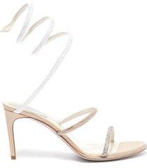 cleo' strass coil anklet satin sandals