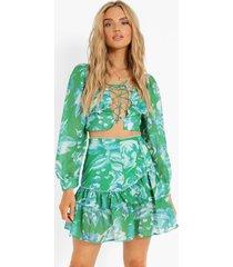 bloemen crop top met volle mouwen en mini rok met losvallende zoom, emerald