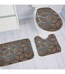 jogo de tapetes para banheiro tapetes junior transfer gold em poliéster marrom antiderrapante 3 peças