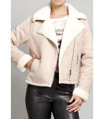 chaqueta mujer bonded suede rosa vintage liola