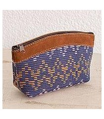 leather accented cotton cosmetic bag, 'beautiful texture' (guatemala)