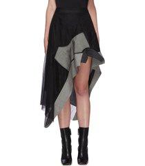 panel asymmetric tulle skirt