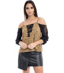 blusa viscose estampada ombros feminina