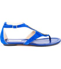 jimmy choo blue suede t-strap thong sandals blue sz: 9.5