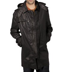 handmade mens hooded leather coat, mens trench leather coat, men leather coat