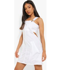 petite chambray tuinbroek jurk, white