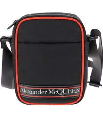 alexander mcqueen designer men's bags, black and red signature crossbody bag