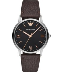 emporio armani men's brown leather strap watch 41mm