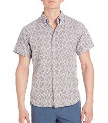 billy reid men's geometrical print tuscumbia shirt - grey - size xxl