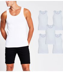 river island mens white muscle fit vest 5 pack