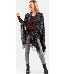 mella reversible printed poncho in charcoal - charcoal