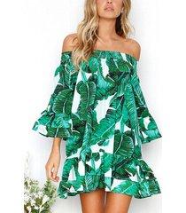 verde hoja mini estampado elástico con hombros descubiertos vestido