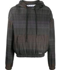 off-white horizontal-stripe pleated hoodie - brown