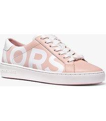 mk sneaker irving in pelle e stampa con logo bicolore - smokey rose - michael kors
