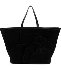 chanel pre-owned large textured camellia tote bag - black
