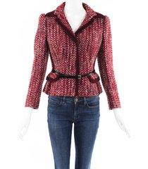 prada wool tweed belted jacket red sz: s