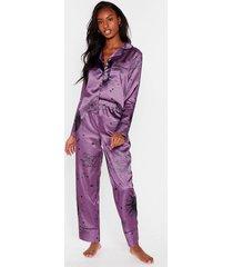 womens over the moon satin pajama pants set - purple