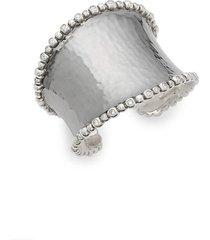 molten sterling silver & diamond wide cuff bracelet