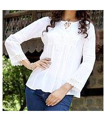 cotton blouse, 'floral clouds' (india)