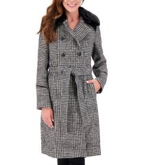 vince camuto plaid faux-fur-collar double-breasted belted coat