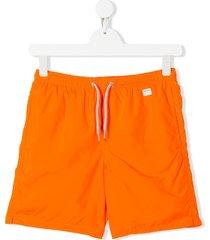 mc2 saint barth teen logo patch drawstring swim shorts - orange