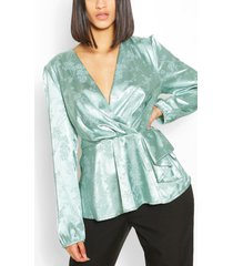 jacquard satin peplum detail blouse, sage