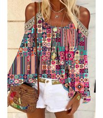 camicetta a maniche lunghe con spalle scoperte con stampa bohémien per donna