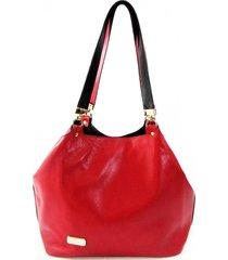 bolsa tiracolo dupla face em couro maria adna vermelha