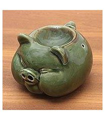 ceramic oil warmer, 'chubby piglet' (indonesia)