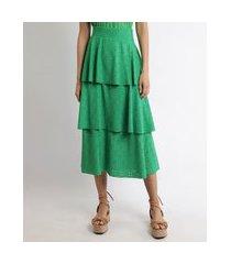 saia feminina em laise longa em camadas verde