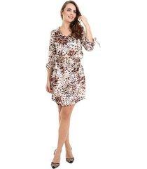 vestido kinara cetim estampado com cinto - feminino
