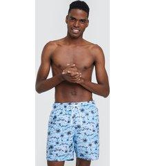 bermuda para hombre playa azul palmeras color azul, talla l