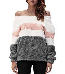 off shoulder colorblock faux fur sweatshirt