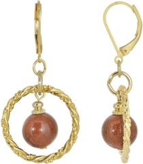 2028 gold-tone genuine stone sandstone round stone hoop earrings