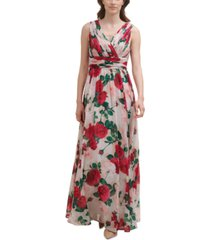 calvin klein floral-print pleated-bodice gown