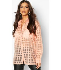 flannel organza button through shirt, blush