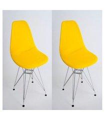 kit com 02 capas para cadeira base madeira eiffel wood amarelo