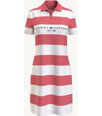 tommy hilfiger women's essential rugby stripe polo dress tea rose/multi - xs