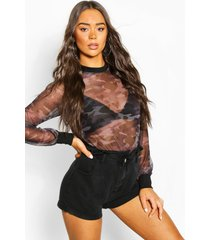 long sleeve camo heart mesh top, charcoal