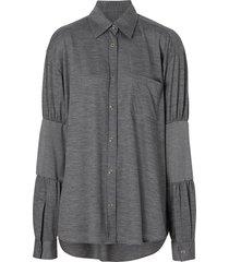 burberry panelled-sleeve wool shirt - grey