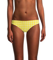 ganni women's seersucker bikini bottom - yellow - size 6