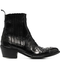 sartore western flame leather booties - black