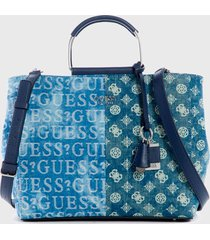 cartera satchel denim  azul guess