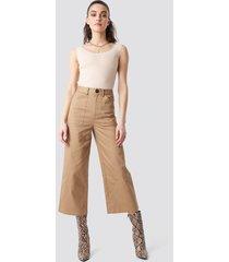 na-kd workwear wide pants - beige