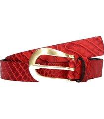 cinturón delgado cuero mujer rojo pollini