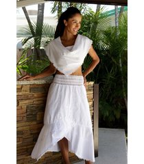 lila organic cotton embroidered crochet waist mid calf low high skirt